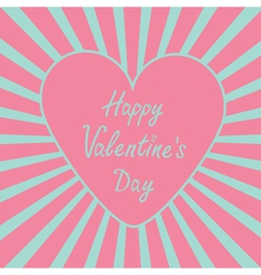 Pink heart with sunburst Happy Valentines Day vector image vector image