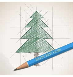 Sketch drawing of Christmas background vector image vector image