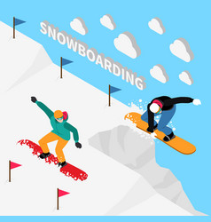 Snowboarding track isometric composition vector