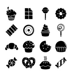 Sweets candy cakes icons set simple style vector