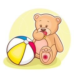 teddy with ball vector image vector image