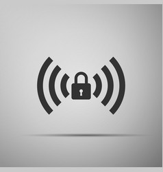 Wifi locked sign icon isolated on grey background vector