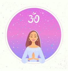 Yoga girl namaste vector