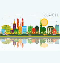 Zurich skyline with color buildings blue sky vector