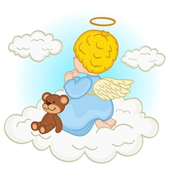 Angel baby boy on cloud vector