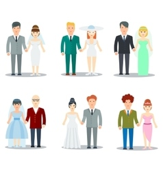 Newlyweds couple characters collection vector