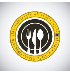 Emblem with silverware vector