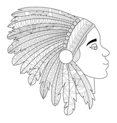 head of an indian in headdress war bonnet vector image