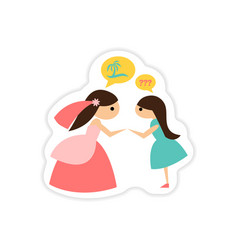 paper sticker on white background bride with vector image