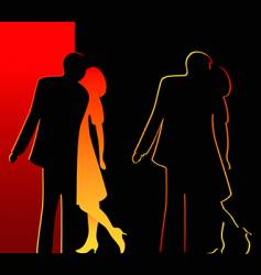 romantic silhouettes vector image