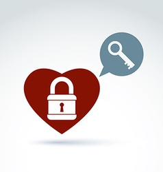 Red heart with a padlock isolated on white vector