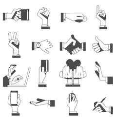 Hand icons set black vector