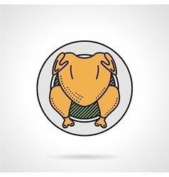 Roasted chicken flat color icon vector