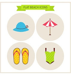 Flat summer beach website icons set vector