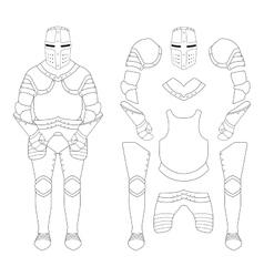 Medieval templar knight armor set contour vector