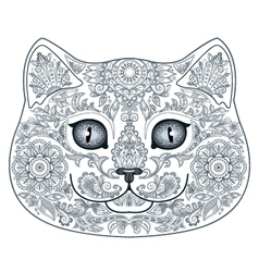 Cat head tattoo with floral ornaments vector