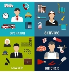 Phone operator lawyer maid and butcher icons vector