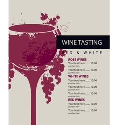 Menu for wine tasting vector