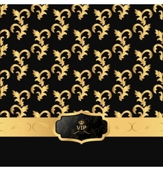 Black and gold background with a horizontal strip vector