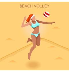 Volleyball Beach 2016 Summer Games 3D vector image