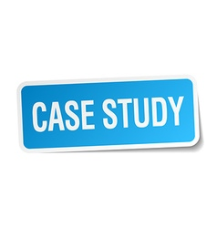 Case study blue square sticker isolated on white vector