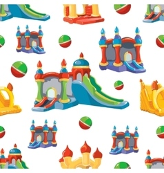 seamless pattern of inflatable castles and vector image