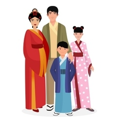 Japanese family japanese man and woman with boy vector