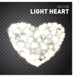 Heart of glowing lights isolated on transparent vector