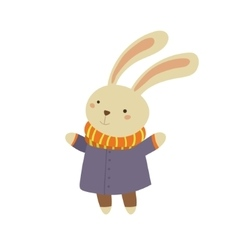 Bunny in blue warm coat childish vector