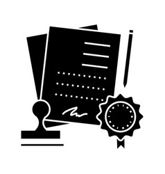 agreement contract icon sig vector image