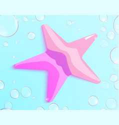 air bubbles around a starfish on a blue background vector image vector image