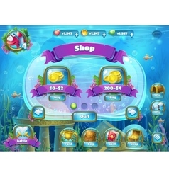 Atlantis ruins with fish rocket - shop window vector