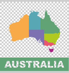 Australia map color with regions flat vector