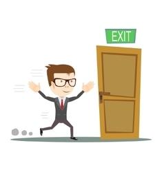 Businessman running to opened door vector