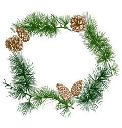 Christmas wreath banner design vector image vector image