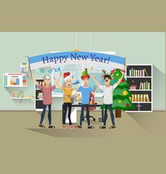 congratulations new year group people vector image vector image