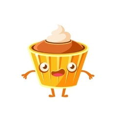 Cupcake with cream topping sweet dessert pastry vector