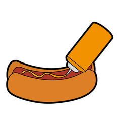 Delicious hot dog with sauce bottle vector