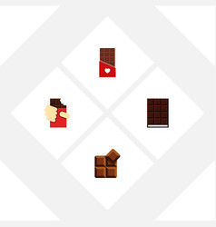 Flat icon bitter set of cocoa chocolate dessert vector