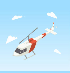 helicopter white and red color isometric vector image