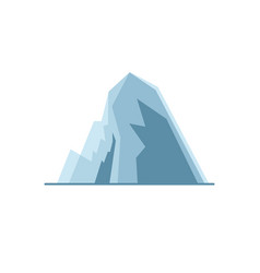 Icy mountain with ledges icon in flat style vector