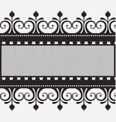 lace horizontal border in monochrome silhouette vector image