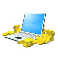 laptop money concept vector image vector image