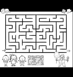 Maze or labyrinth game coloring page vector