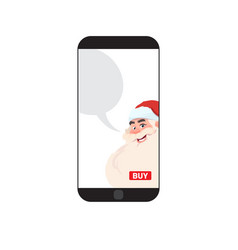 modern smart phone with santa image merry vector image vector image