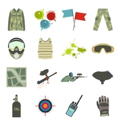 Paintball game flat icons set vector