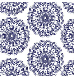 Pattern dark blue flower mandala vintage vector