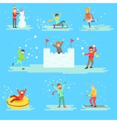 People Having Fun In Snow In Winter Set Of vector image vector image