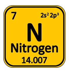 Periodic table element nitrogen icon vector image
