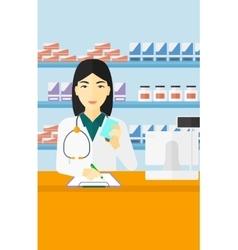 Pharmacist taking notes vector
